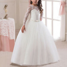 Flower Girls Dress Princess Party Bridesmaid Kid Formal Gown Long Dresses White