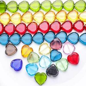 10pcs 22mm Flat Heart Faceted Crystal Glass Loose Beads for Jewelry Making