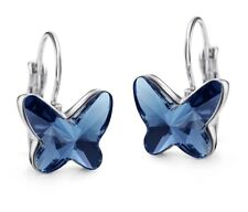 Made With Swarovski Crystal Blue Butterfly Rhodium Plated Small Hook Earrings