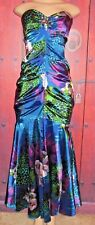 CACHE WOMEN'S GORGEOUS LONG SATIN MULTICOLOR FORMAL DRESS SIZE 2