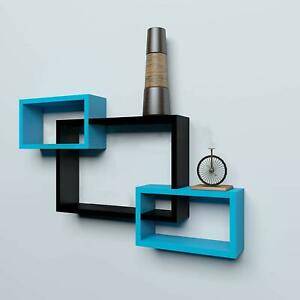 Modern Intersecting Floating Wall Shelf Home Wall Decor Set of 3 ( Blue ,Black)