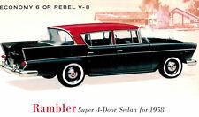 1958,Rambler Rebel,4-Door Sedan,Advertising Postcard,American Motors,1958