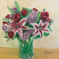 Original Still Life Oil Painting Lilies and Roses by Jeff Barnes