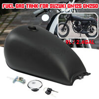 Motorcycle 9L 2.4 Gal Matte Fuel Gas Tank Cap Switch For Suzuki GN125 250