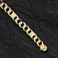 "18kt Solid Yellow Gold Handmade Curb Link Mens Bracelet 8.5"" 40 Grams 9MM"