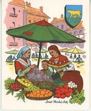 VINTAGE GARDEN GRAPES VEGGIE MARKET RAVIOLI RECIPE 1 COFFEE POT CUP CAT ART CARD