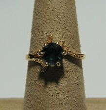 14K Yellow Gold Ring With Large Round Cut Sapphire Size 4.5 G-15-G