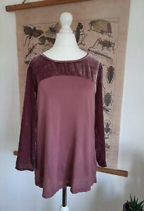 White Stuff Size UK 14 T Shirt Top Purple Velvet 3/4 Sleeve Round Neck Christmas