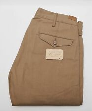 NEW Ralph Lauren RRL DOUBLE RL Khaki Selvedge Rigid Officer Chino Pants 32/30