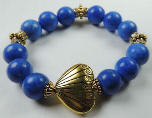 Blue Bead Stretch Bracelet with Heart & Rhinestones