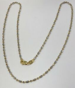 """18K Solid Two-tone White And Yellow Gold Necklace 16""""- 4.5g Women"""