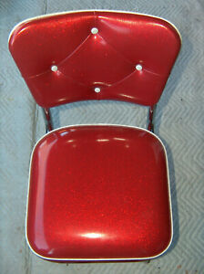LUCY Modern 1950s Retro Style Stitched Red Sparkle Kitchen Side Diner Chair USA