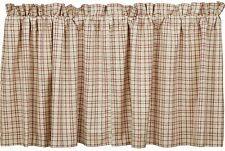 """36"""" L Cream Red Green Plaid Cafe Curtains Tacoma Window Tier Set Cotton Lined"""