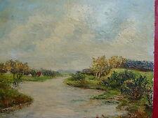 altes Gemälde__Flußlandschaft__Weser__Bergmann-Hallbandt !