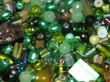NEW 1/2Lb of GREENS Random MIXED Loose Beads 6-15mm pearls, crystal Mix of sizes