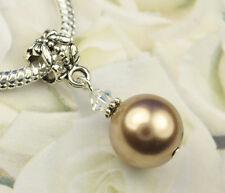 Bronze Crystal Pearl Dangle Charm Bead European Style w Swarovski Elements