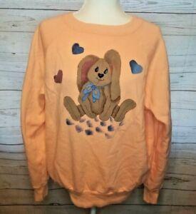 Vintage 1980s orange bunny sweatshirt Size XL hand painted USA Cottagecore