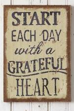 New Primitive Country START EACH DAY WITH A GRATEFUL HEART Burlap Sign Wall Art