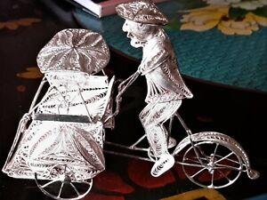 Sterling Silver Highly Detailed Filigree Chinese Rickshaw, Handmade, 1940s