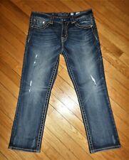 Miss Me Boyfriend Cuffed Capri Jeans Mid-High Rise Light Distress Crystals 29