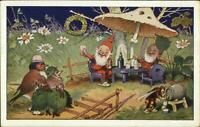 Fantasy Gnomes Elves Birds Mushroom Bee c1915 Postcard