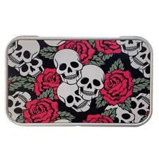 Skull and Roses Rectangle Metal Tin Storage Container Stash Box Party Favor