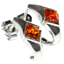 2.55g Authentic Baltic Amber 925 Sterling Silver Earrings Jewelry N-A5930