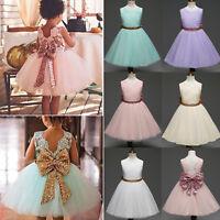 Kid Baby Formal Girl Party Tulle Tutu Dress Princess Wedding Bridesmaid Lace Bow