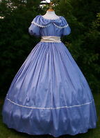Ladies Victorian  American Civil War 3pc blue & cream costume fancy dress 6-20