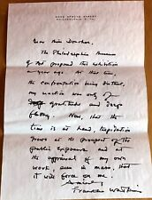 American Painter Franklin C. Watkins Autograph Letter to Philly Art Critic