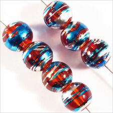 Lot de 30 perles en verre Décorées 8mm Rouge