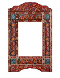 hand painted, hanging mirror, wall art, farmhouse decor of wood, Red rustic