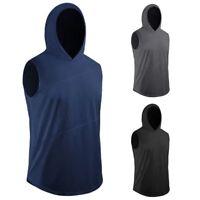Men Fitness Hoodie Sport Tops Sleeveless Hooded T Shirt Sweatshirt Blouse Tee