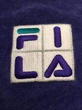 Vtg FILA Women's Velour V Neck Sweatshirt Sweater Purple 90s Track Suit Medium M