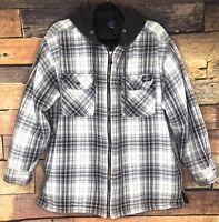 DICKIES SHIRT PLAID QUILTED Tan Brown LINED FULL ZIP Mens SIZE L HOODIE Shacket