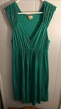 Women's Ella Moss Cotton- Modal Green And White Polka Dot Dress Sz. L  New