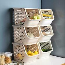 Stackable Storage Basket Fruit Vegetable Toy Stacking Rack KitchenI Bedroom K2G3