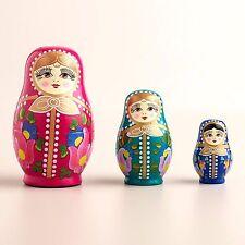 """Matryoshka Russian Nesting Dolls Set of 3 Handpainted Wood 5"""" Art Gift"""