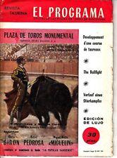 El Programa Oficial de Las Plazas de Toros de Barcelona Bullfighting 1958
