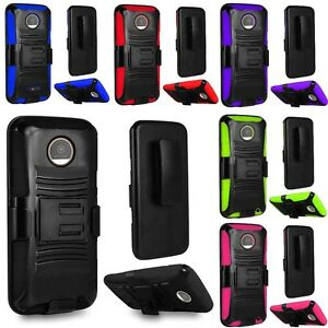 Motorola Moto Z Droid Hybrid Armor Belt Clip Holster Stand Protective Case Cover