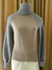 Tory Burch Sweater Turtleneck Color Block Gray Brown Thick Knit S