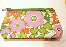 CLINIQUE Pretty Floral Detail Orange Pink Green Makeup Cosmetic Bag Bags