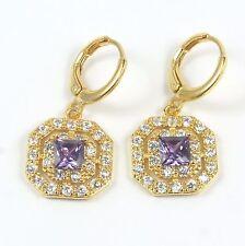 Women's 18 carat Gold Plated Purple Cubic Zircon Huggie Hoop Earrings