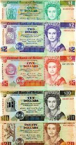 1990 BELIZE $1-20 5 PC. ALL GEM CU EXCEPT $20 PAPER MONEY NOTES!!!..STARTS@ 2.99