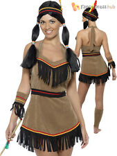 Ladies Indian Women Costume Adults Native American Fancy Dress Pocahontas Outfit