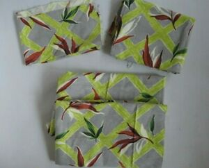 Vintage Tropical Nubby Barkcloth Fabric 4 Pieces Gray and Lime Botanical