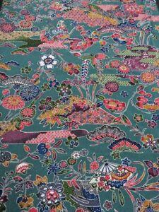 Japanese Kimono Brown Kimono Brown and Golden Fabric Silk Chirimen Crepe Floral Kimono