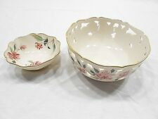 "Lenox China Barrington Collection, 6"" All Pierced Bowl, 4-1/4"" Jewelry Dish"