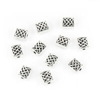 Tibetan Silver Celtic Knot Rectangle Spacer Beads 7x6mm (50493)