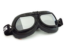 Vintage Aviator Style Motorcycle Scooter Goggles - Black - Mirror Lens